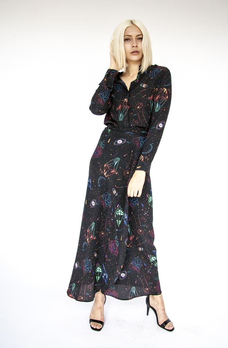 Digitally printed STARDUST BLACK, silk STAR wrap skirt & LILA shirt Photo. Jessica Sargeant. Model Charlie Siddick