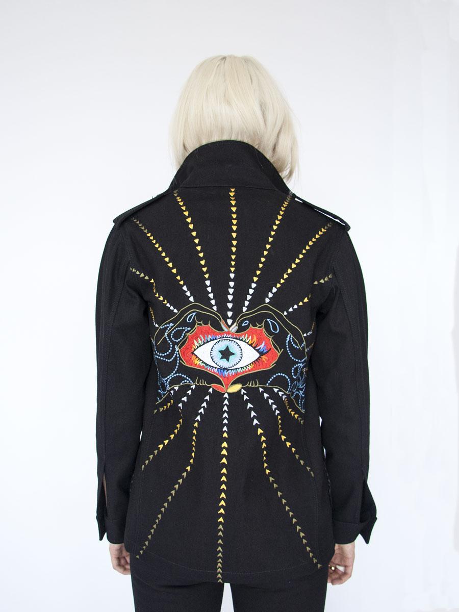 Embroidered denim DAVINA jacket Photo. Jessica Sargeant. Model Charlie Siddick