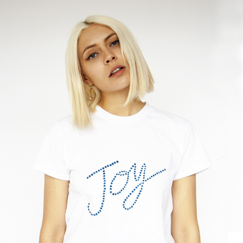 Hand printed STARJOY, cotton PLUTO T-shirt Photo. Jessica Sargeant. Model Charlie Siddick