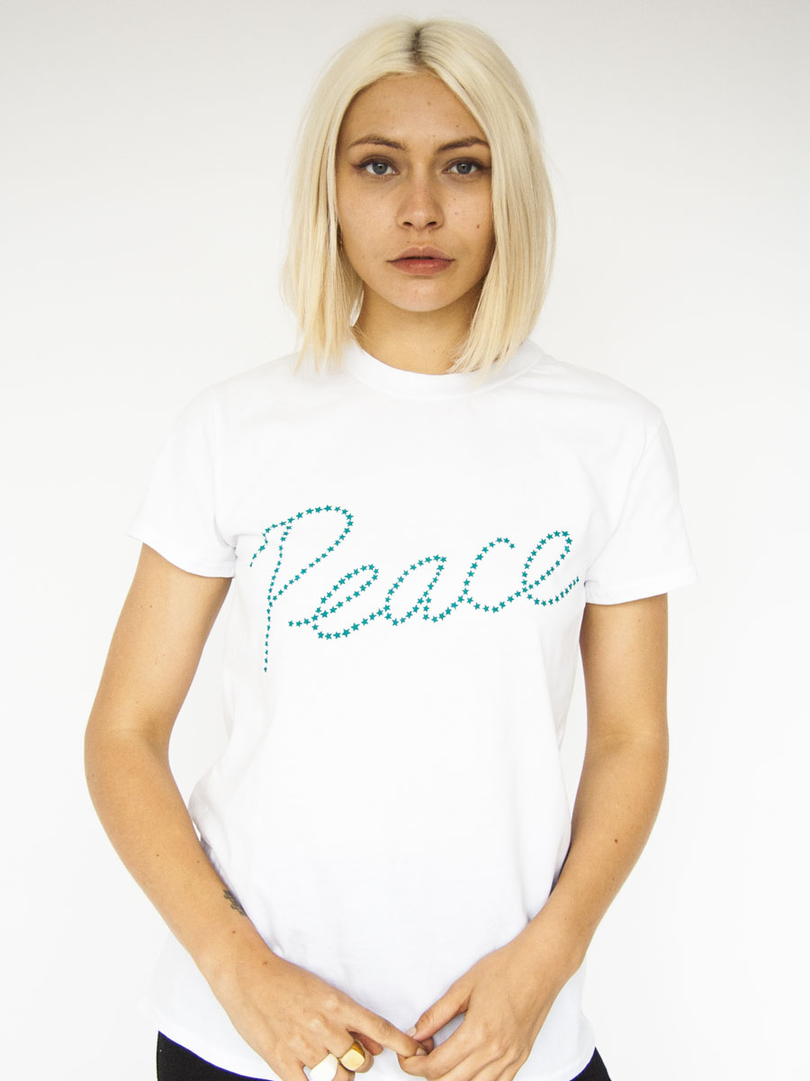 Hand printed STARPEACE, cotton PLUTO T-shirt Photo. Jessica Sargeant. Model Charlie Siddick