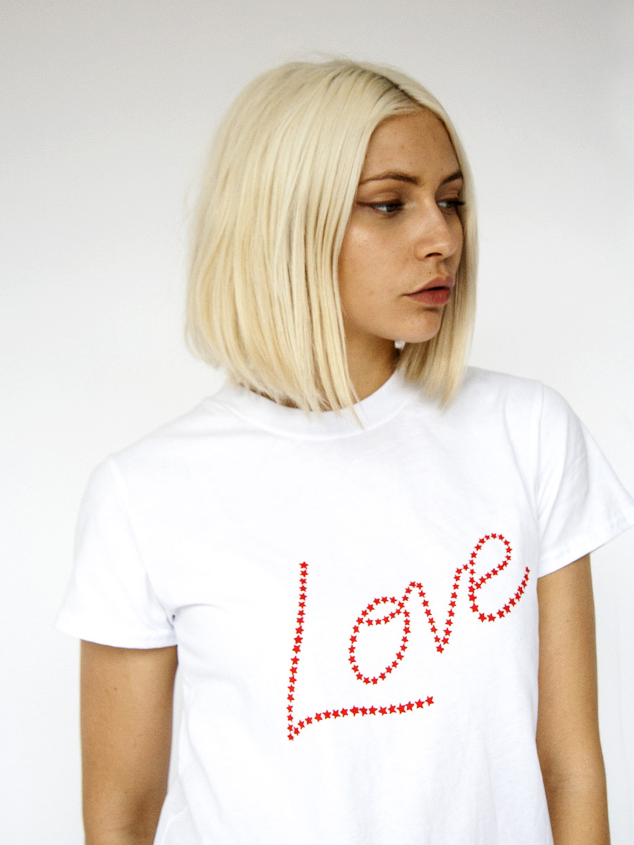 Hand printed STARLOVE, cotton PLUTO T-shirt Photo. Jessica Sargeant. Model Charlie Siddick