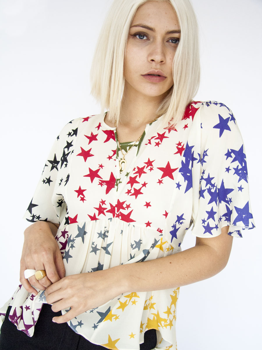 Digitally printed RAINBOW WATERSTAR, silk LOTUS blouse Photo. Jessica Sargeant. Model Charlie Siddick