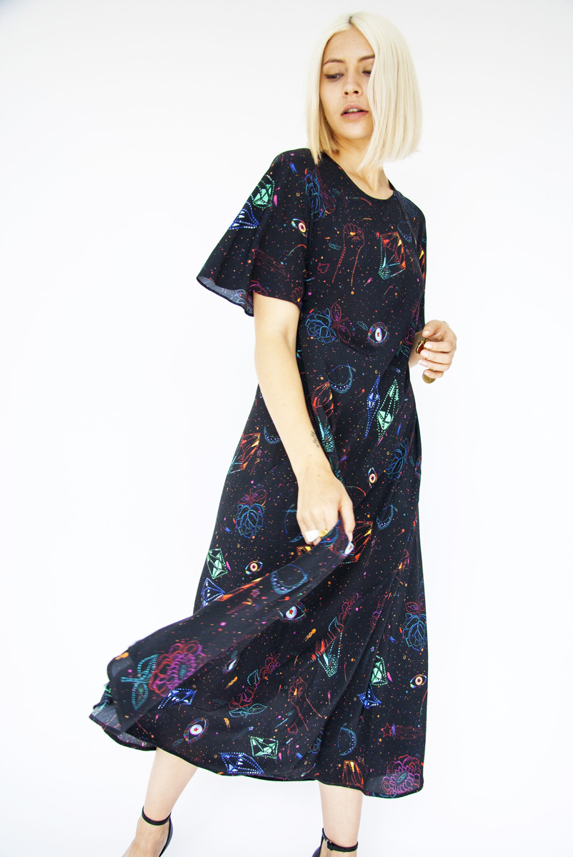 Digitally printed STARDUST BLACK, silk DAISY dress Photo. Jessica Sargeant. Model Charlie Siddick