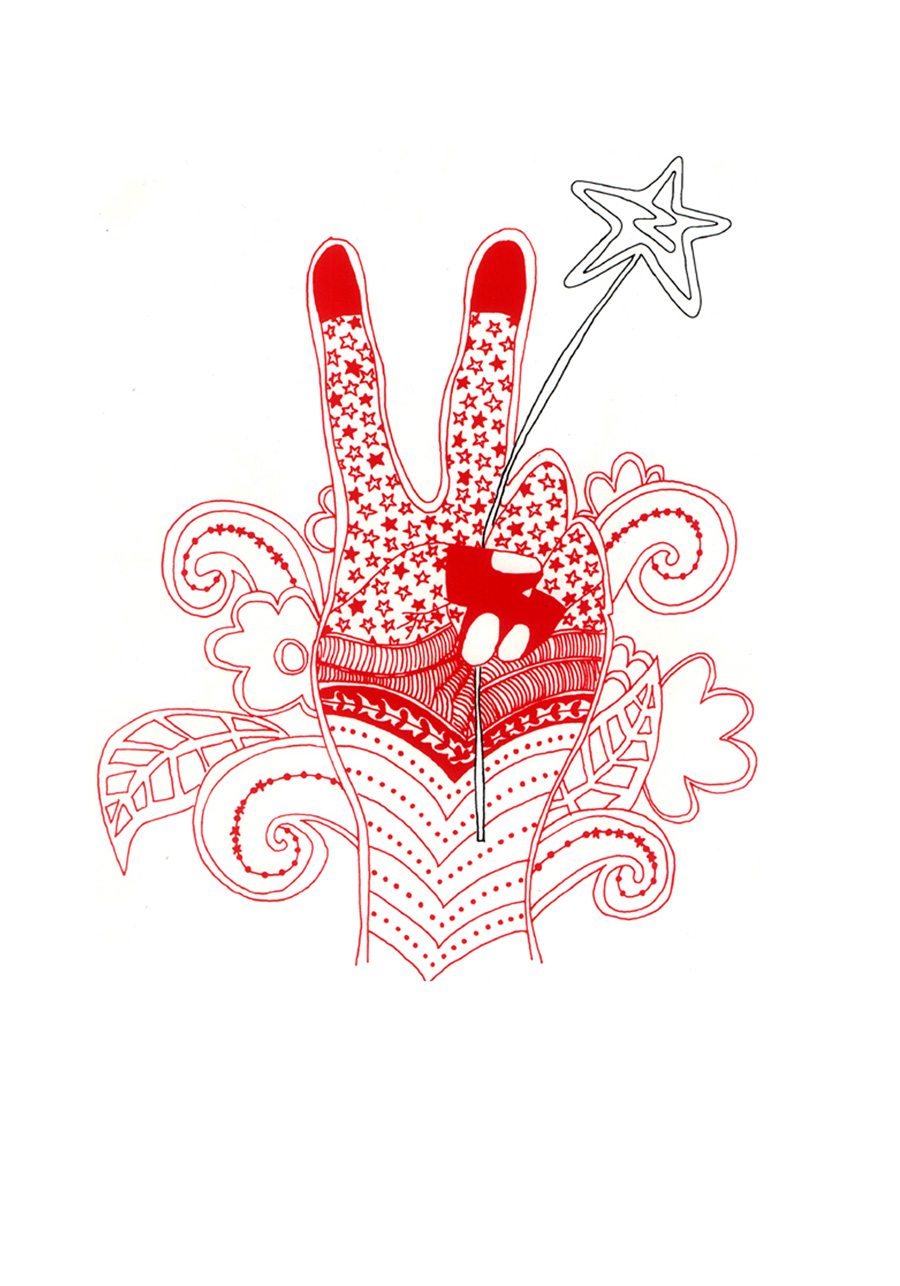 'Peace Hand', 2000. Hand-drawn artwork, coloured digitally