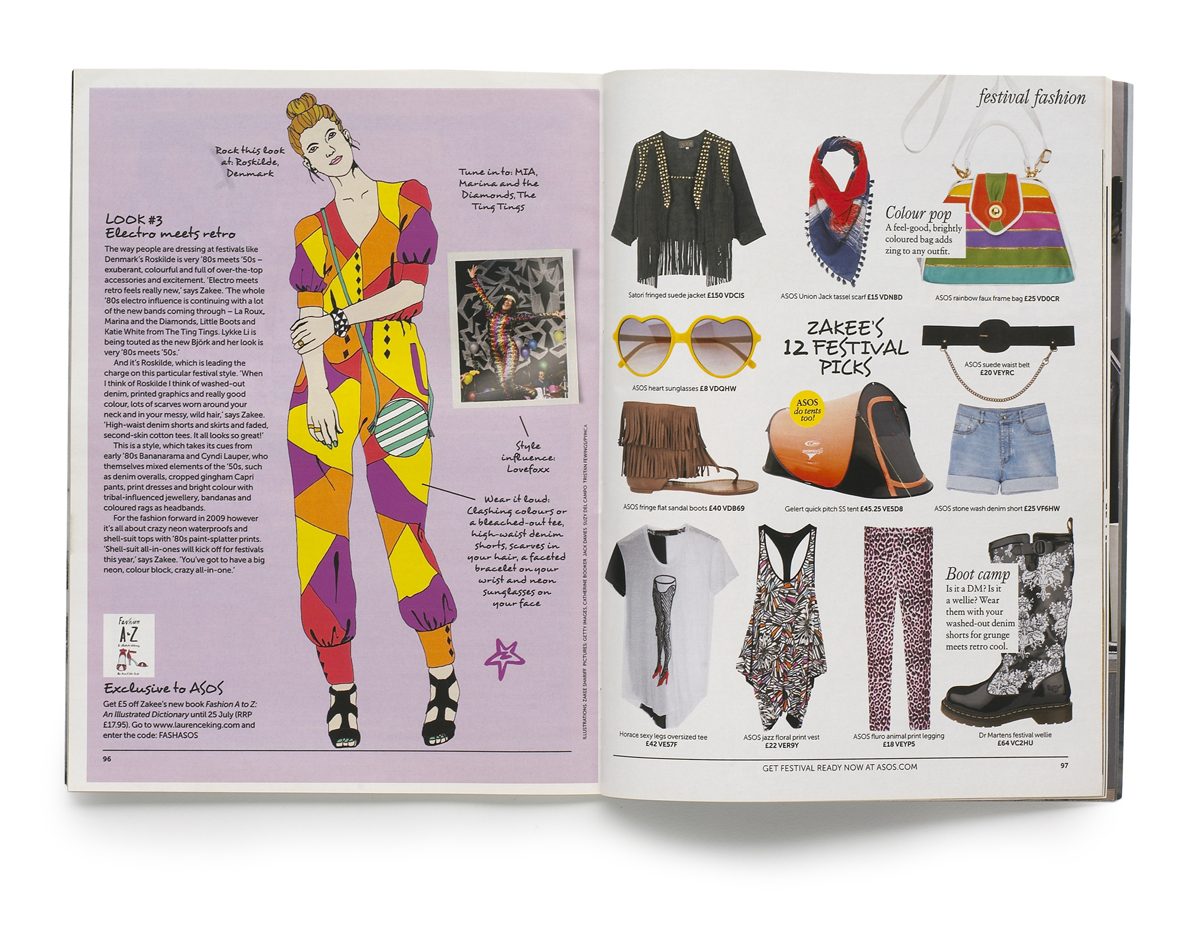 Page spread of illustrations for ASOS Magazine For ASOS, May 2009