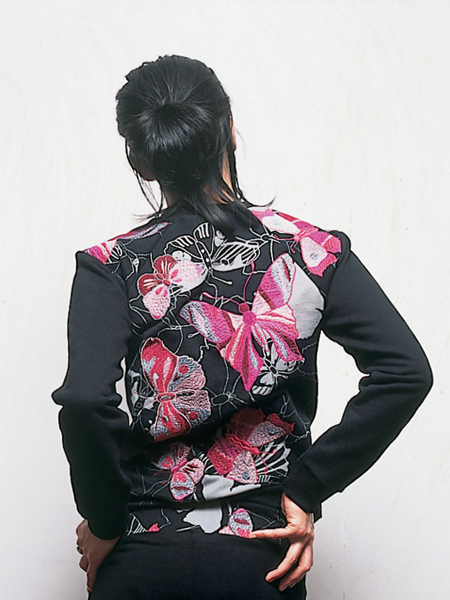 Cotton jacket & trousers: <em>Butterflies</em> print. Photo by Neil Stewart. Styling by Pip Ingham/Cathal McAteer