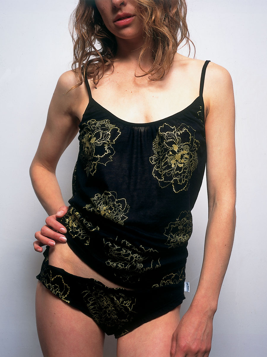 Cotton top & knickers: <em>Dot Flower</em> embroidery. Photo by Neil Stewart. Styling by Pip Ingham/Cathal McAteer