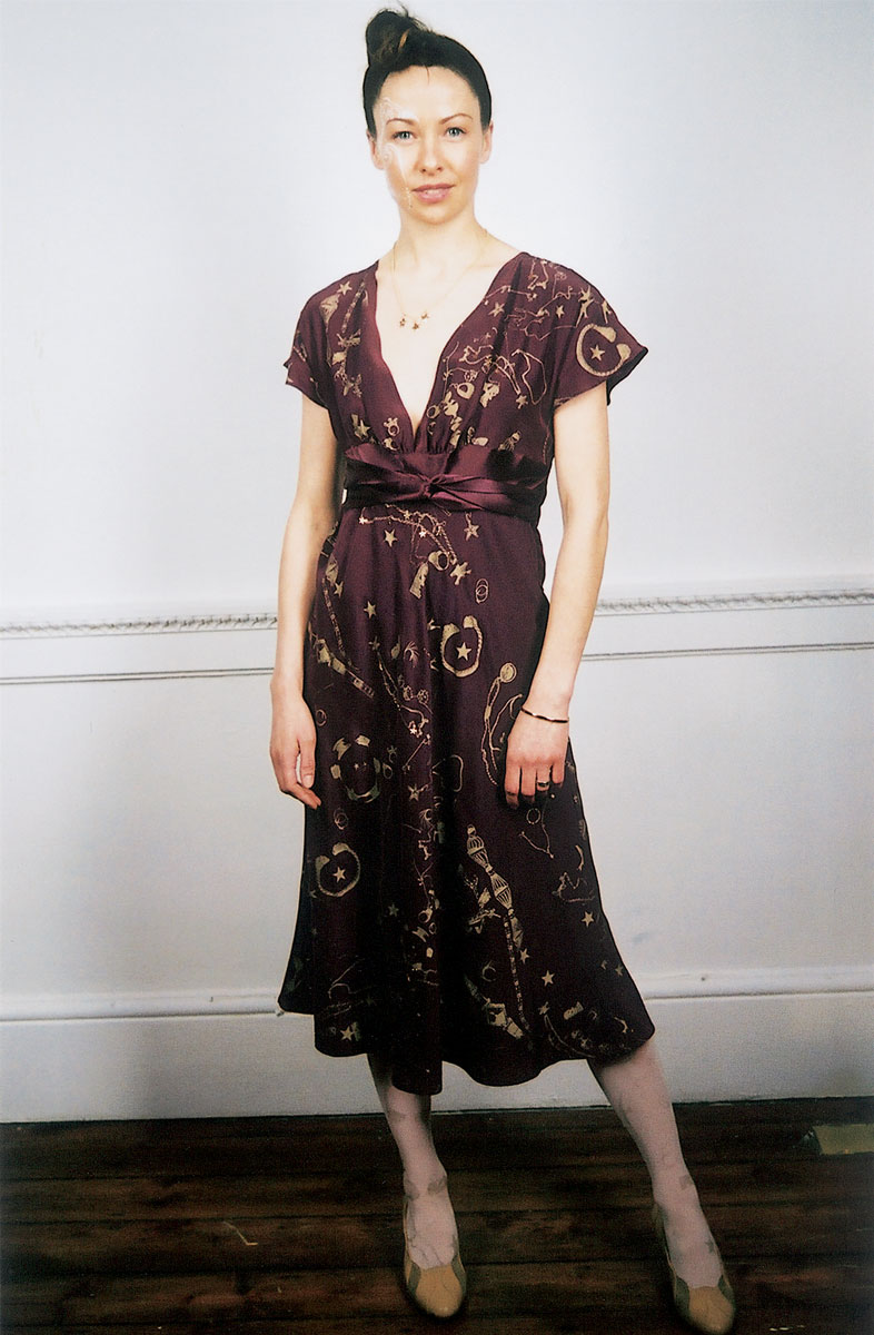Silk dress: <em>Leila's Jewels</em> print. Leather shoes: no print. Nylon tights: 'Leila's Jewels' print. Photo by Rosalind Miller. Make-up by Kate Lee. Styling by Tamara Fulton