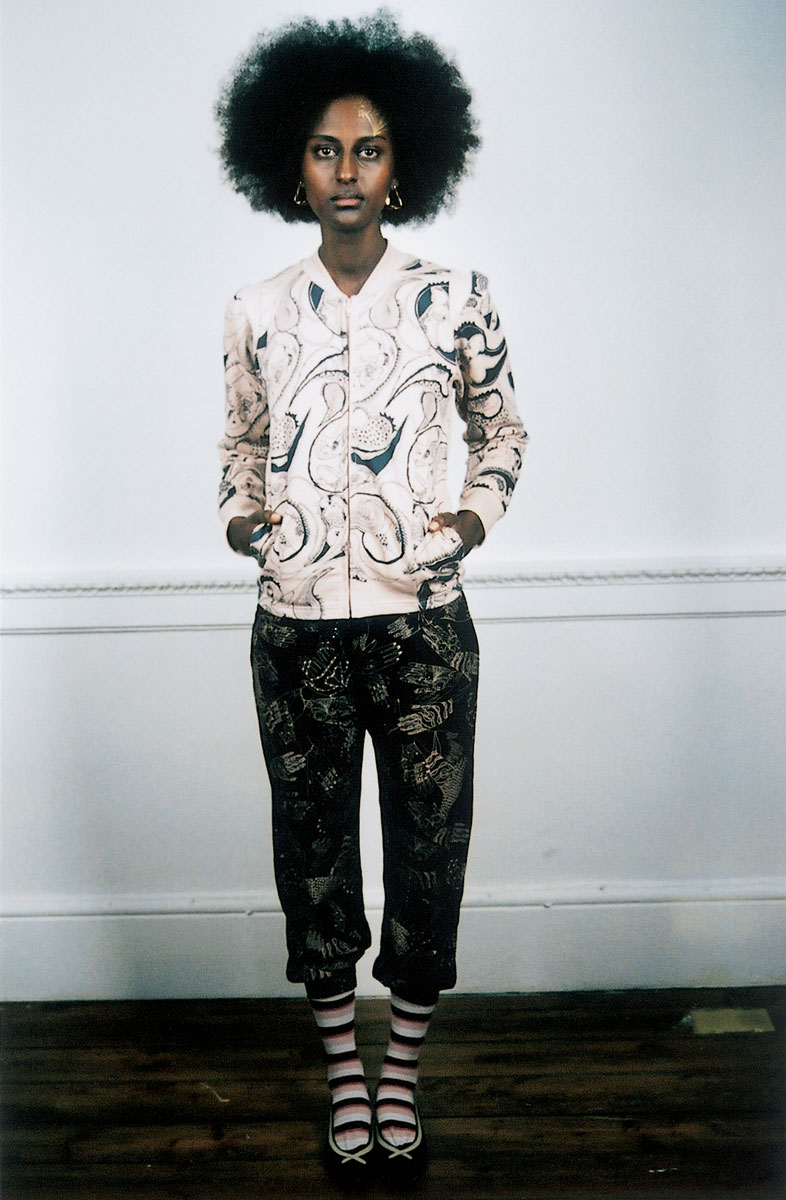 Cotton jersey jacket: Orgy print, Cotton jersey pants: Mhendi Hands print. Cotton striped socks: no print. Leather shoes: no print. Photo by Rosalind Miller. Make-up by Kate Lee. Styling by Tamara Fulton