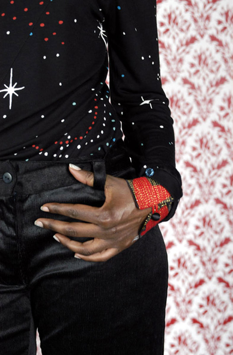 Cotton/viscose jersey top: <em>Jima Sky</em> print Applique wristband: Lucy Miller for Zakee Shariff Photo: Rosalind Miller. Styling: Tamara Fulton Make-up: Kate Lee. Hair: Asashi