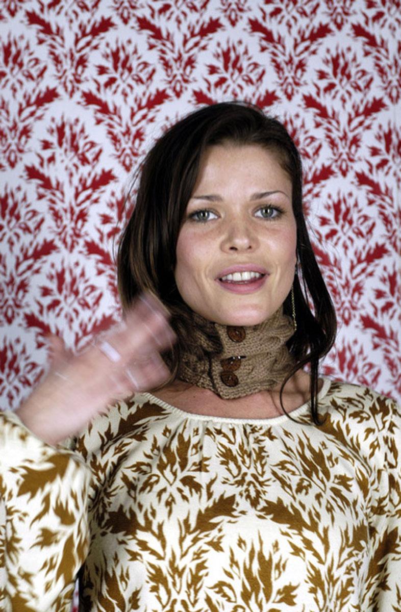 Wool top: <em>Hot</em> print. Scarf: Lucy Miller for Zakee Shariff Photo: Rosalind Miller. Styling: Tamara Fulton Make-up: Kate Lee. Hair: Asashi