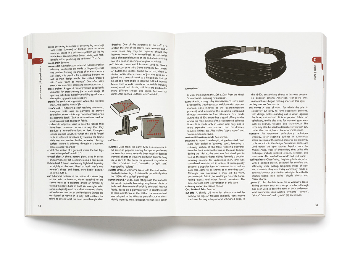 Zakee Shariff & Alex Newman,'Fashion A–Z, An Illustrated Dictionary', double-page spread. For Laurence King Publishing, 2009