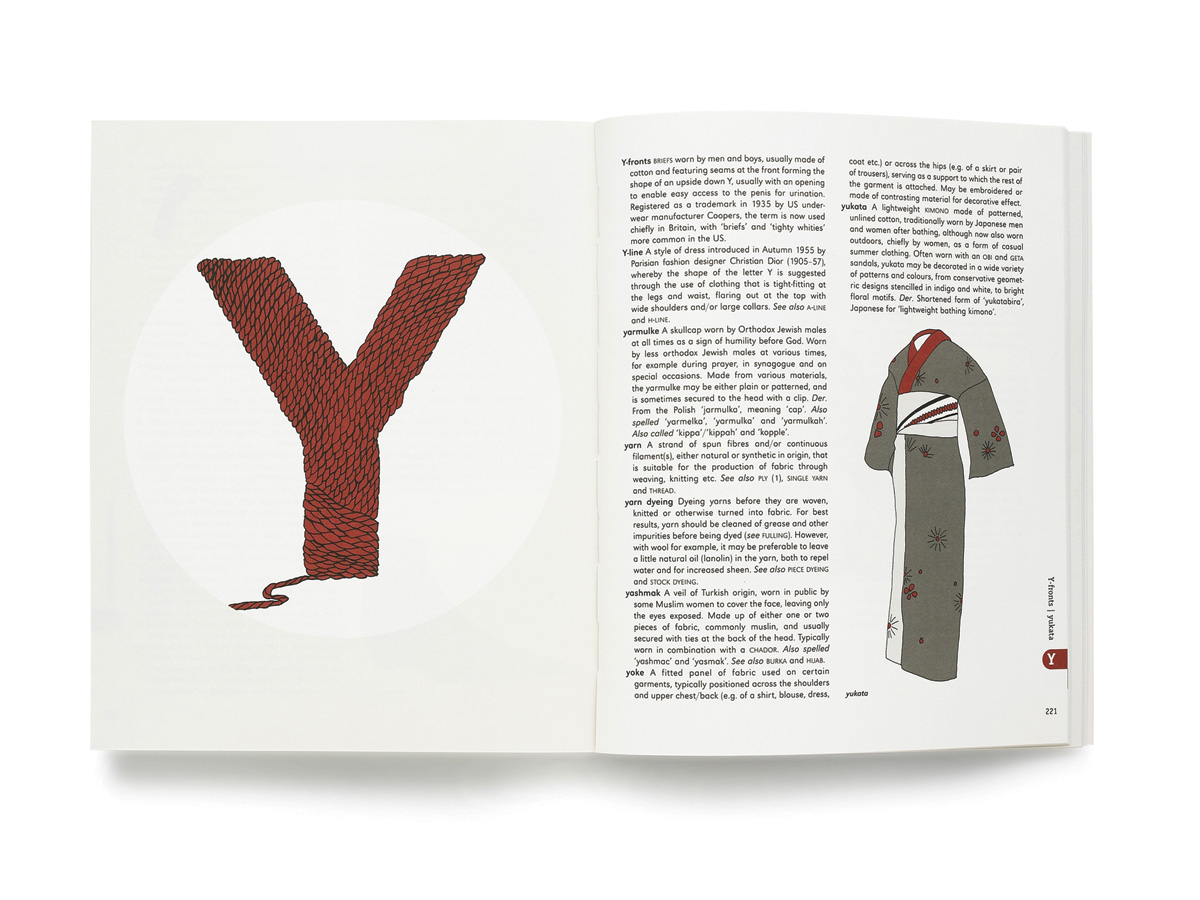 Zakee Shariff & Alex Newman, 'Fashion A–Z, An Illustrated Dictionary', double-page spread. For Laurence King Publishing, 2009