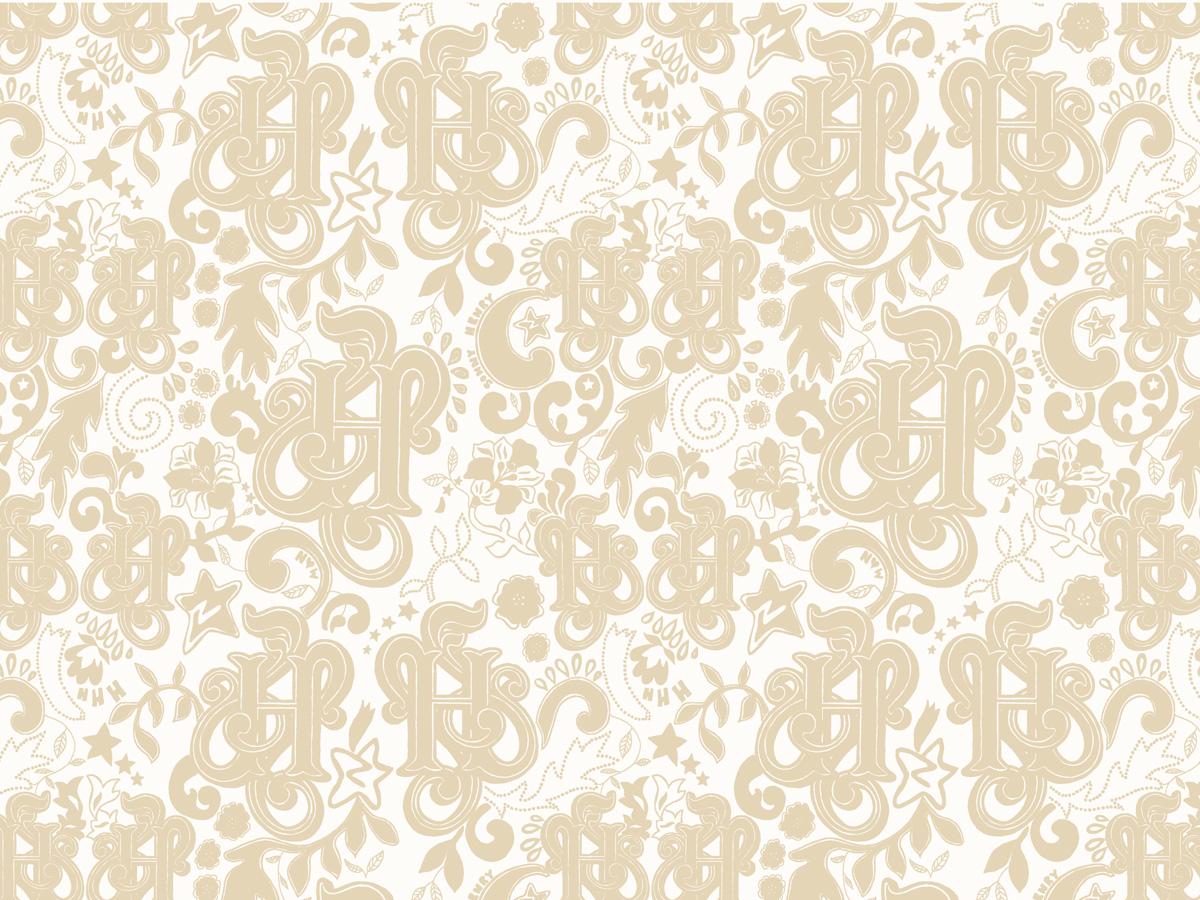 'Magic' wallpaper design, beige colourway, 2006. For Hertford House Hotel, UK
