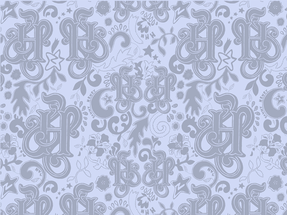 'Magic' wallpaper design, blue colourway, 2006. For Hertford House Hotel, UK