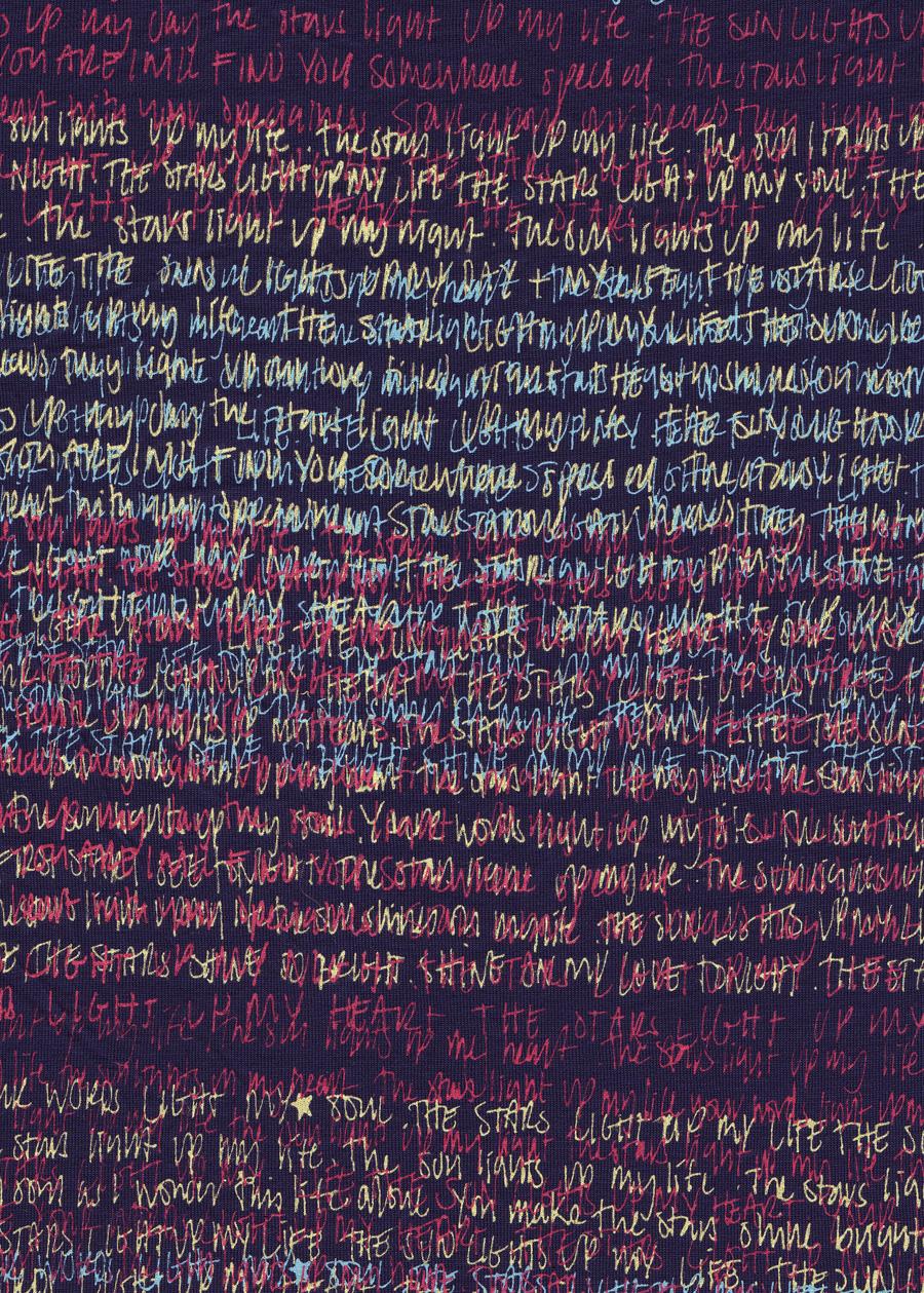 'Love Writes' screen print on fabric, 2005