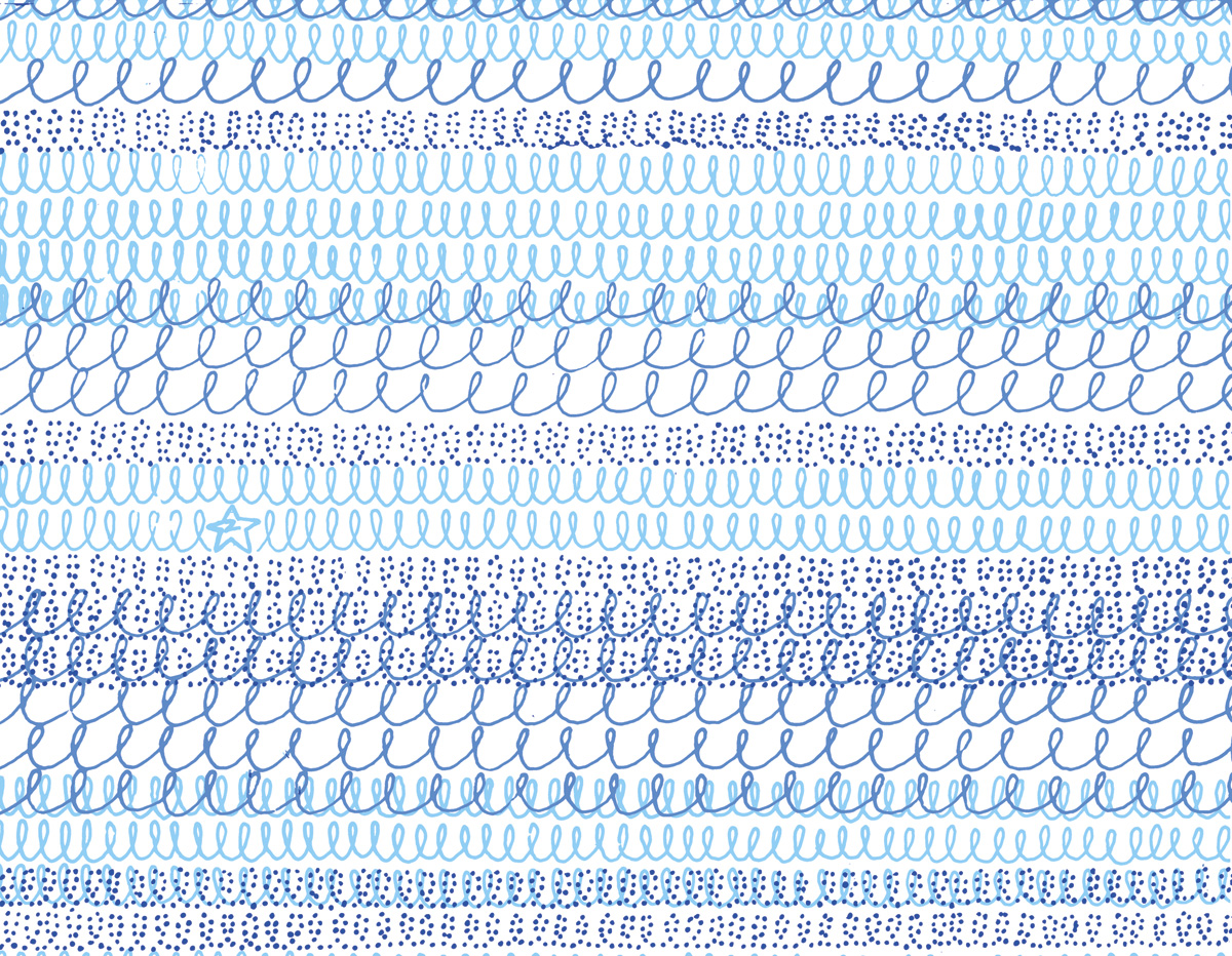 'Topshop Wave' textile design, blue colourway. For Topshop, SS06