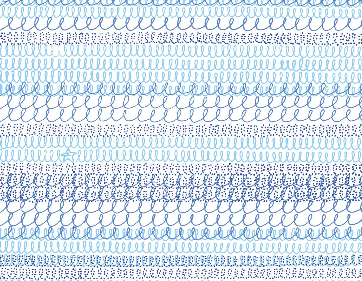 'Topshop Wave' textile design, blue colourway. For Topshop, SS06