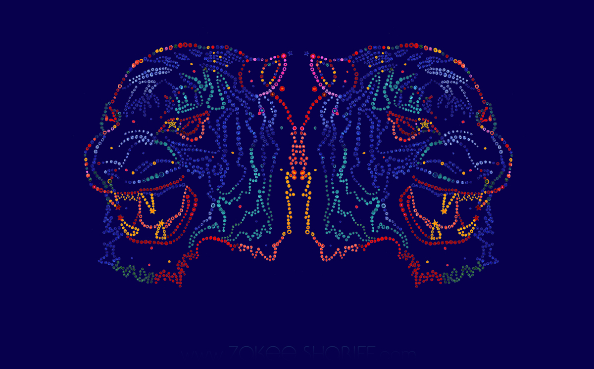 Double Tiger all-over textile design, hand-drawn and digitally coloured, 2007