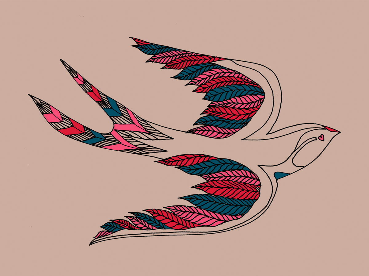 'Birds of Peace' illustration, used for print and embroidery. Zakee Shariff for People Tree, AW12
