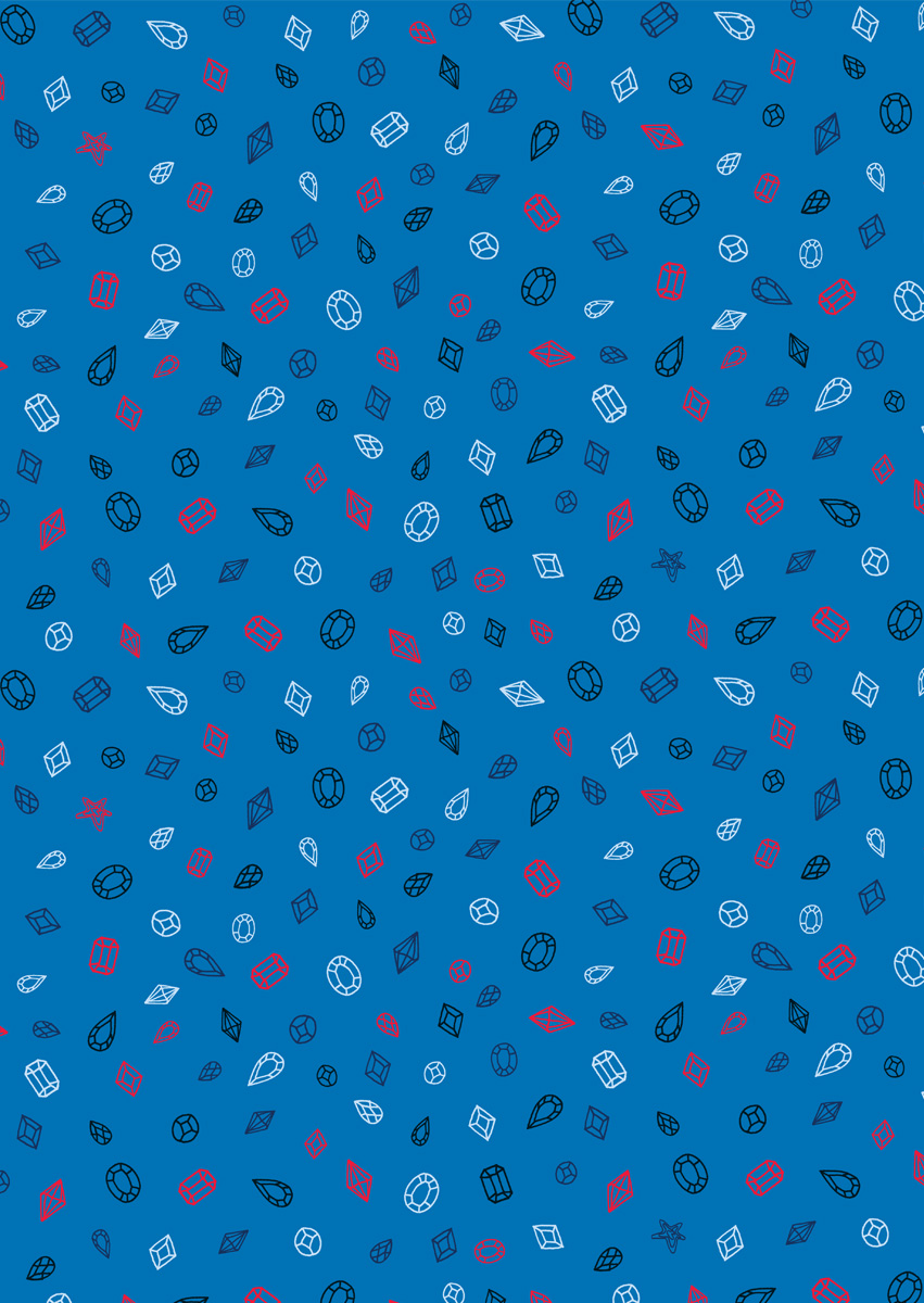 Digitally printed DIAMONDS BLUE