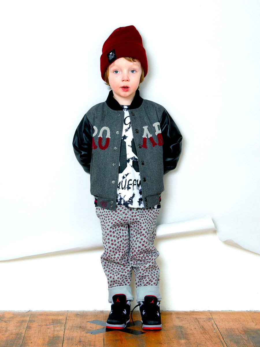 'All-over Star' printed trackie bottoms and 'Roar' embellished back of jacket . Zakee Shariff for Ruff & Huddle, AW13
