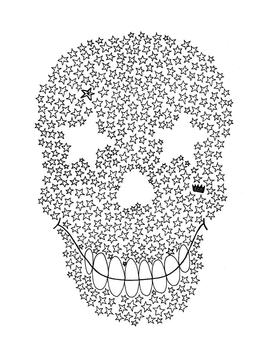 'Star Skull' illustration. Zakee Shariff for Ruff & Huddle, AW13