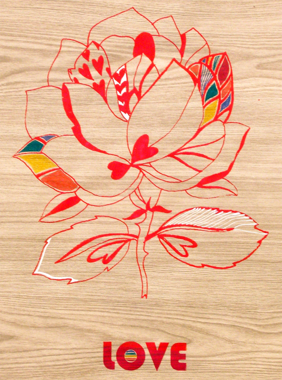 'Love Flower', 2006. Silk-screen print and pen & ink on paper. 84 × 56 cm