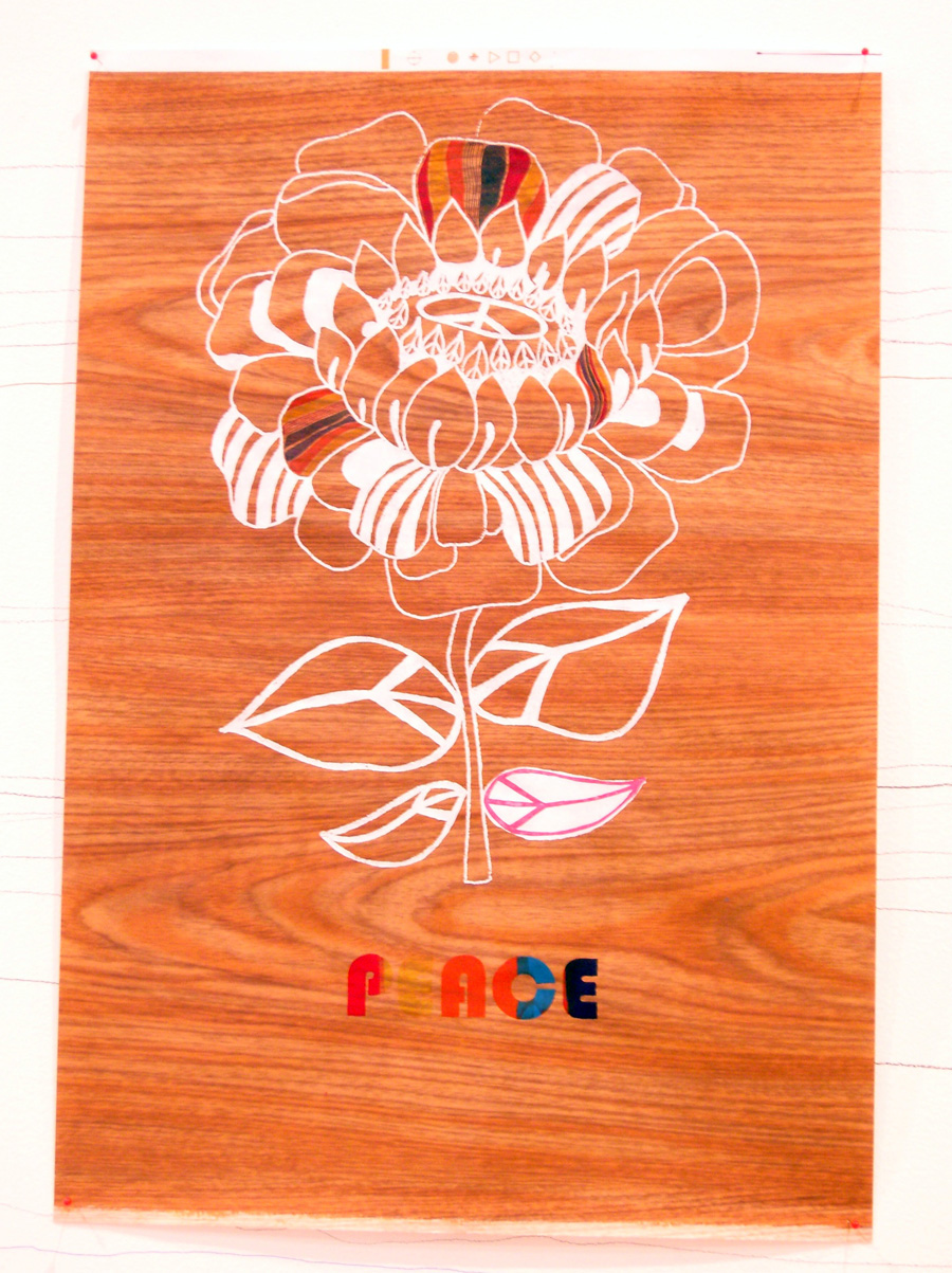 'Peace Flower', 2006. Silk-screen print and pen & ink on paper. 84 × 56 cm