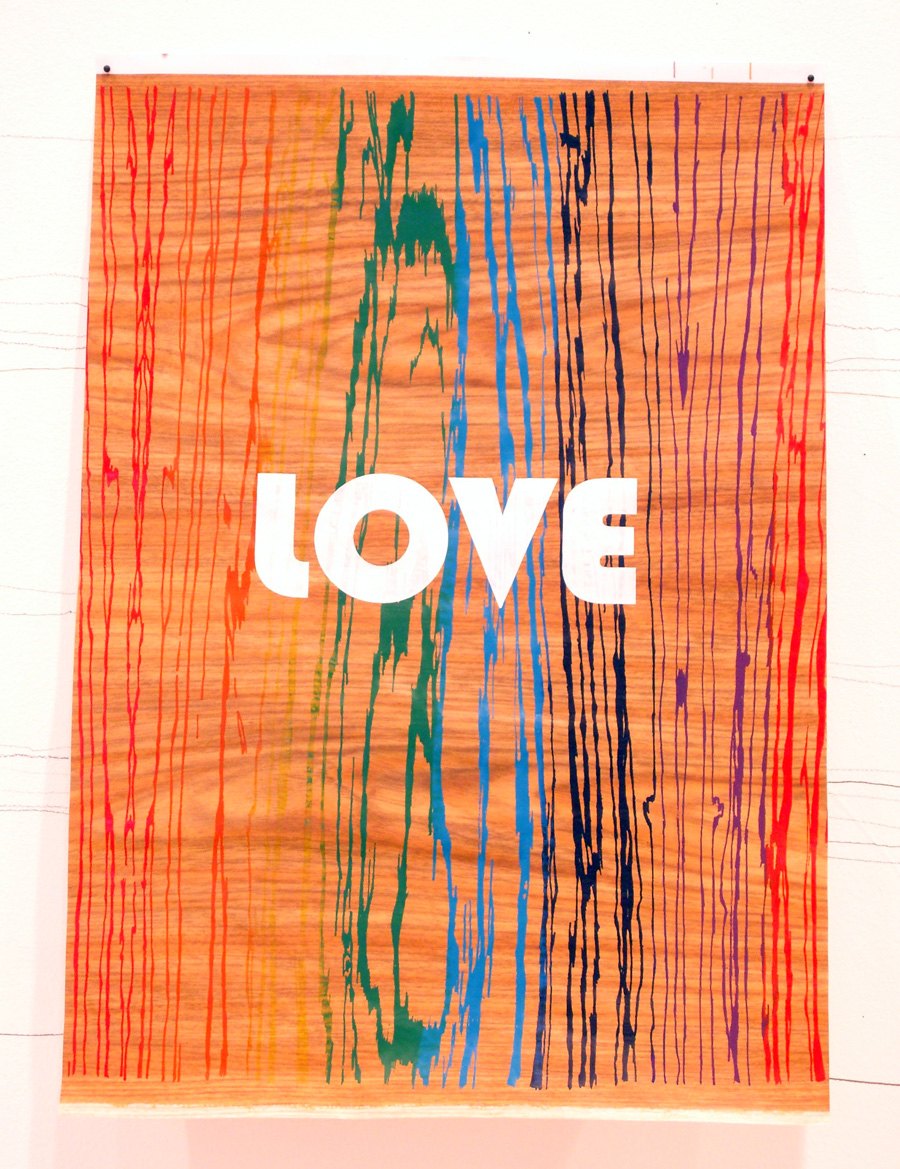 'Rainbow Love', 2006. Silk-screen print and pen & ink on paper. 84 × 56 cm