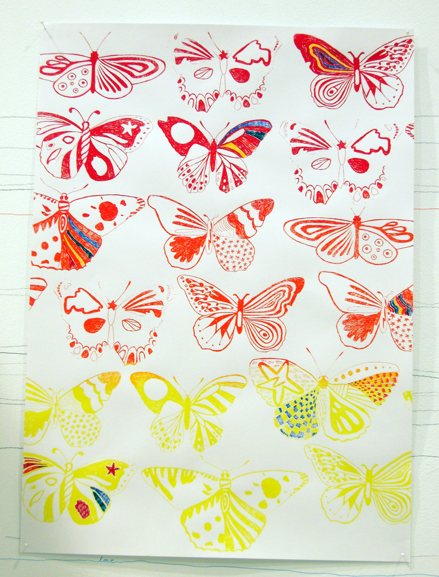 'Butterfly Grad', 2006. Silk-screen print and pen & ink on paper. 84 × 56 cm