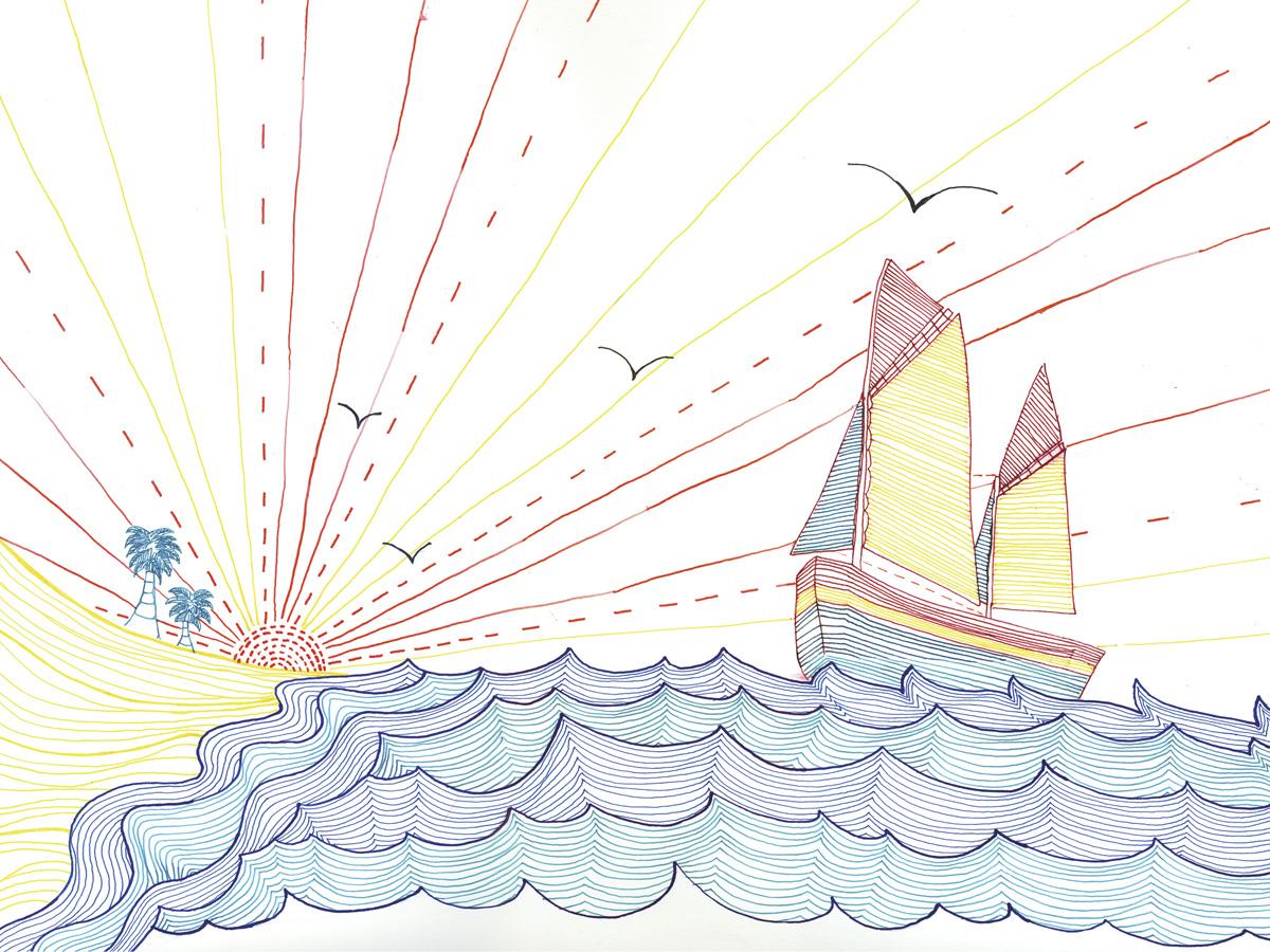 Artwork for Skye's <em>Mind How You Go</em> album, 2006. Pen &amp; ink over silk-screen print on paper
