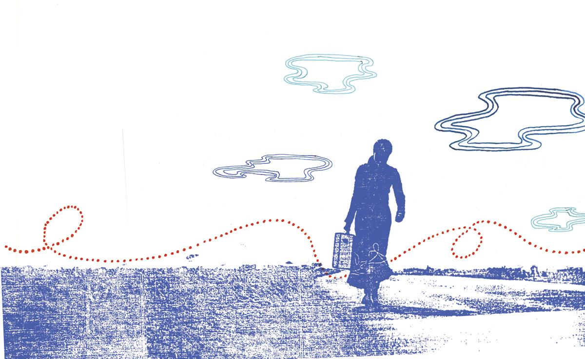 Artwork for Skye's 'Mind How You Go' album, 2006. Pen & ink over silk-screen print on paper