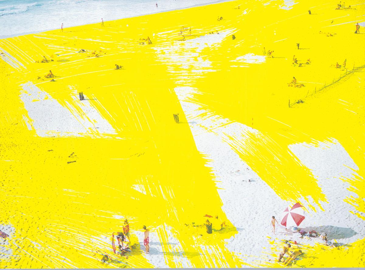 Zakee Shariff &amp; Rosalind Miller, 'Crazy Beach', 2001. Silk-screen print on photograph. 80 × 180 cmZakee Shariff &amp; Rosalind Miller, <em>Crazy Beach</em>, 2001. Silk-screen print on photograph. 80 × 180 cm