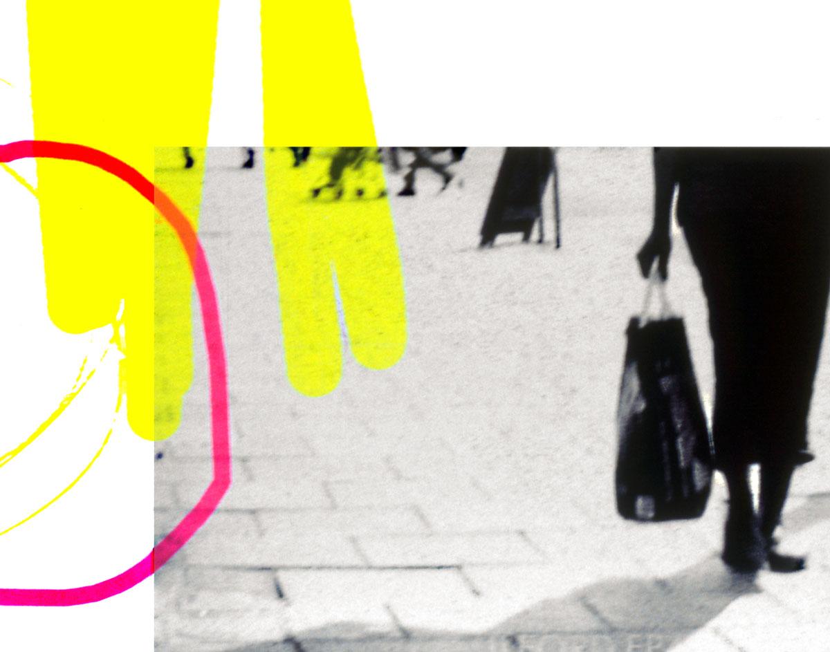 Zakee Shariff & Rosalind Miller, <em>Bag Lady</em>, 2002. Silk-screen print on photograph. 28 × 43 × 4 cm