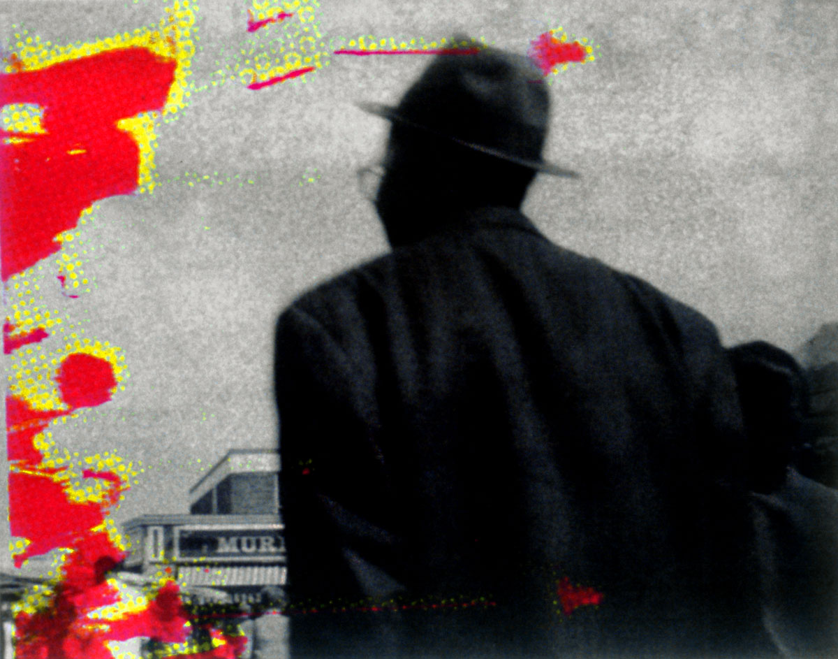 Zakee Shariff & Rosalind Miller, <em>Back Man</em>, 2002. Silk-screen print on photograph. 28 × 43 × 4 cm