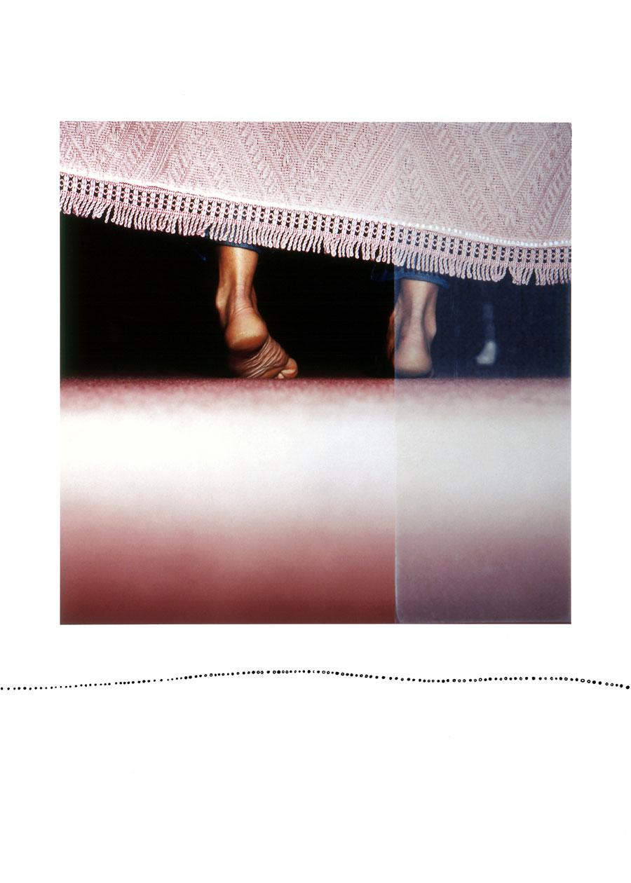 Zakee Shariff & Rosalind Miller, Hidden Feet, 2003. Silk-screen print on photograph, dry-mounted onto aluminum. 70 × 55 cm