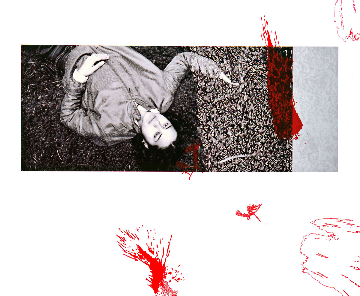 Zakee Shariff & Rosalind Miller, Fallen, 2003. Silk-screen print on photograph, dry-mounted onto aluminium. 125 × 70 cm