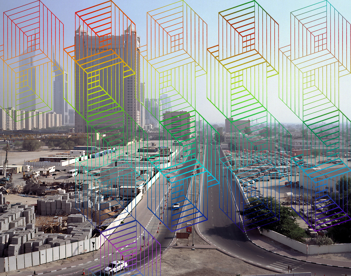 Rainbow buildings, 2006. Silk-screen print on photograph