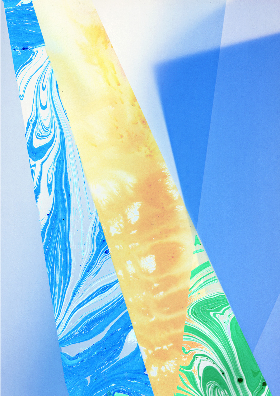 Zakee Shariff & Rosalind Miller, 'Blue/Yellow light', digital hand illustration over photograph, 84 × 118 cm