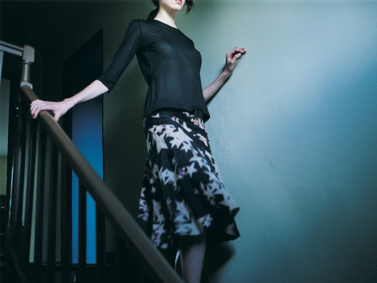 Silk skirt: <em>Water Star</em> print (hand-printed). Fine jersey top: no print. Photo by Ben Ingham. Styling by Pip Ingham