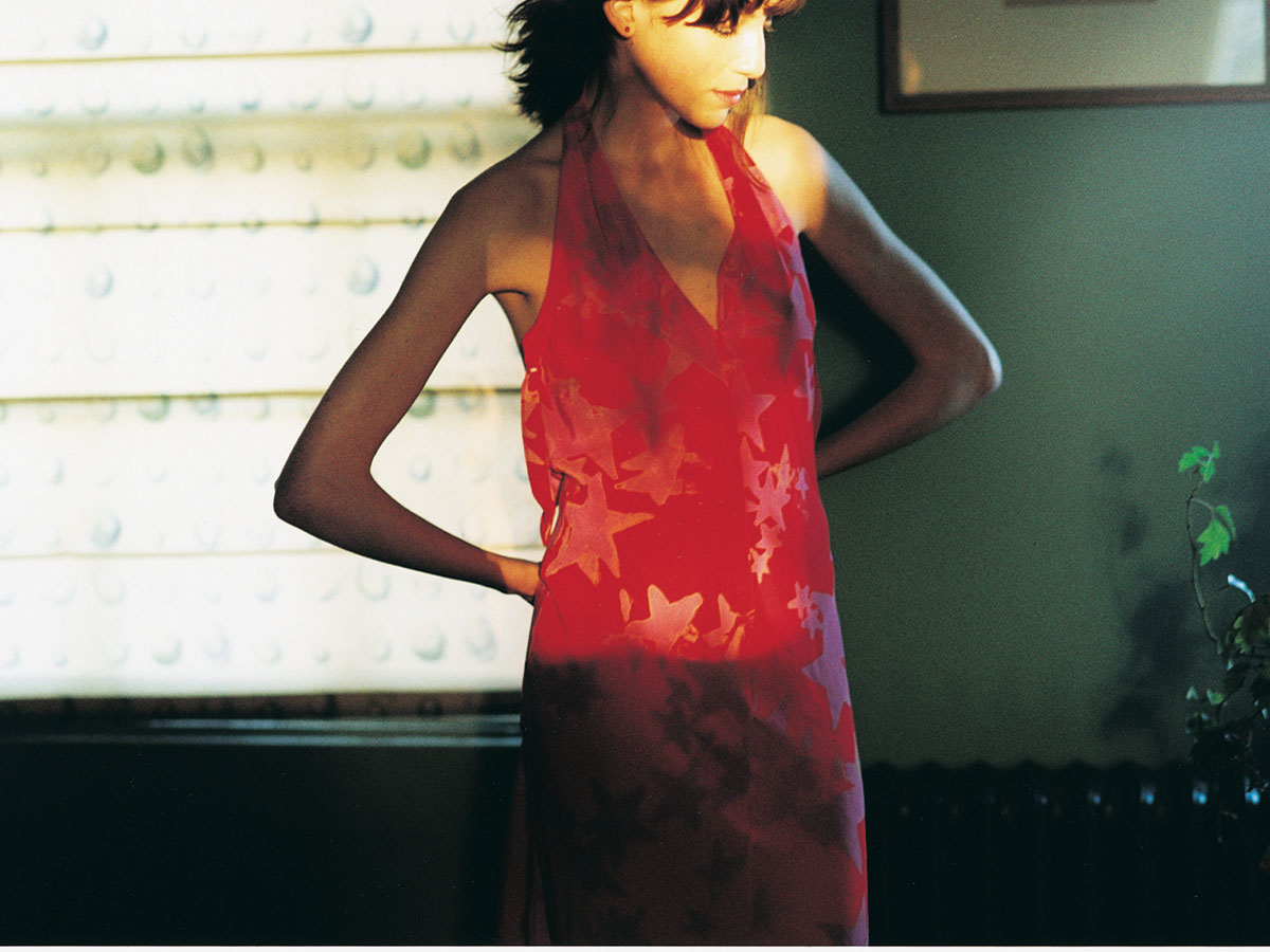 Silk dress: <em>Water Star</em> print. Photo by Ben Ingham. Styling by Pip Ingham