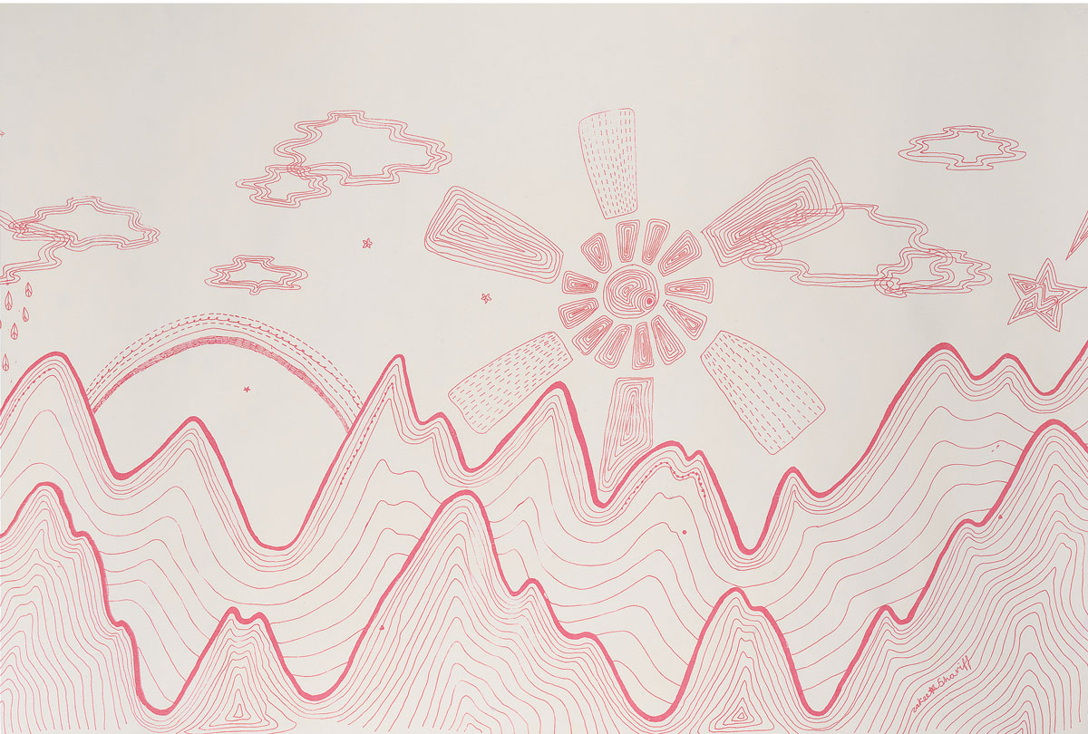 'Karokia' (detail), 2004. Silk-screen print on paper. 60 × 250 cm