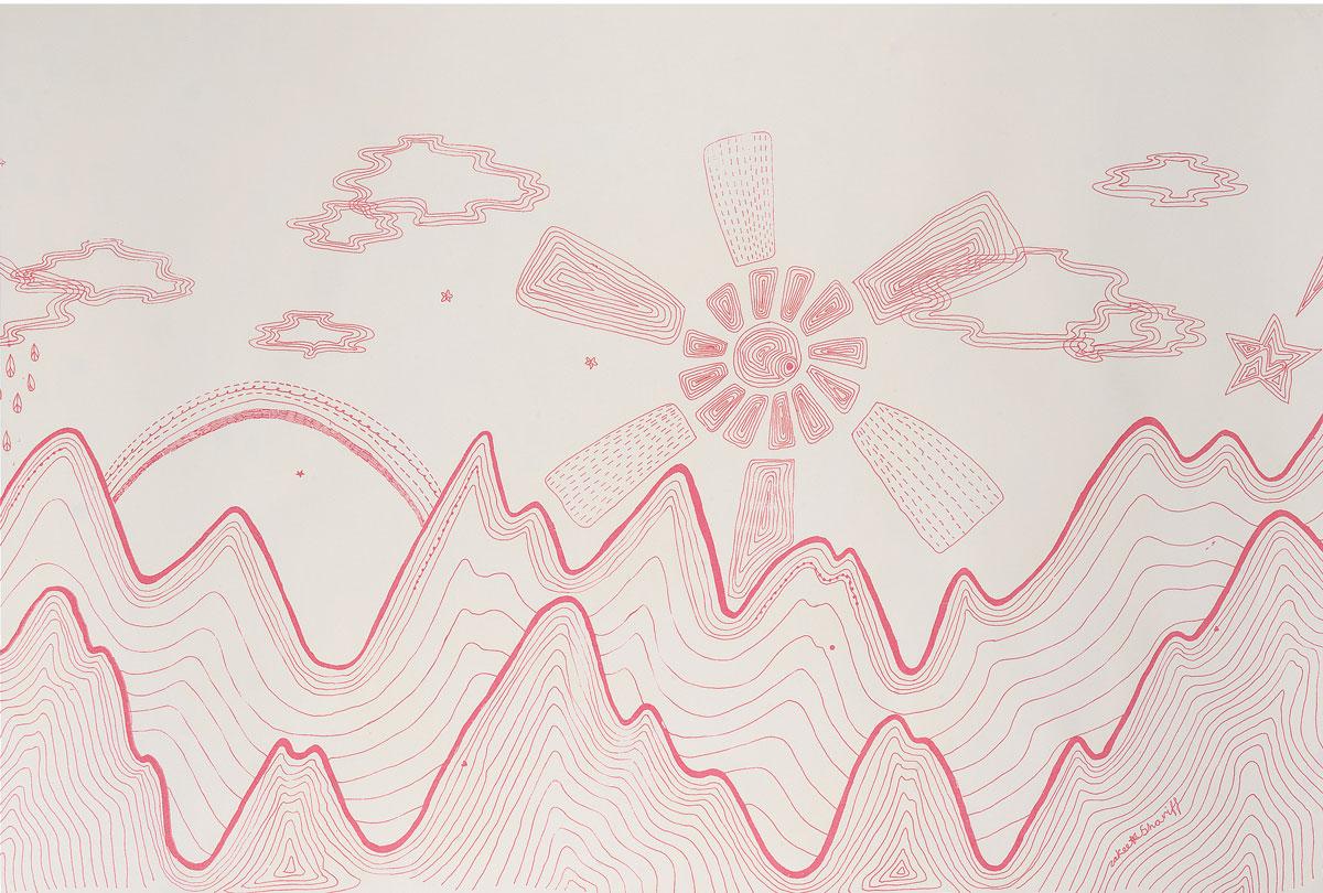 'Karokia' (detail), 2004. Silk-screen print on paper. 60 × 250 cm