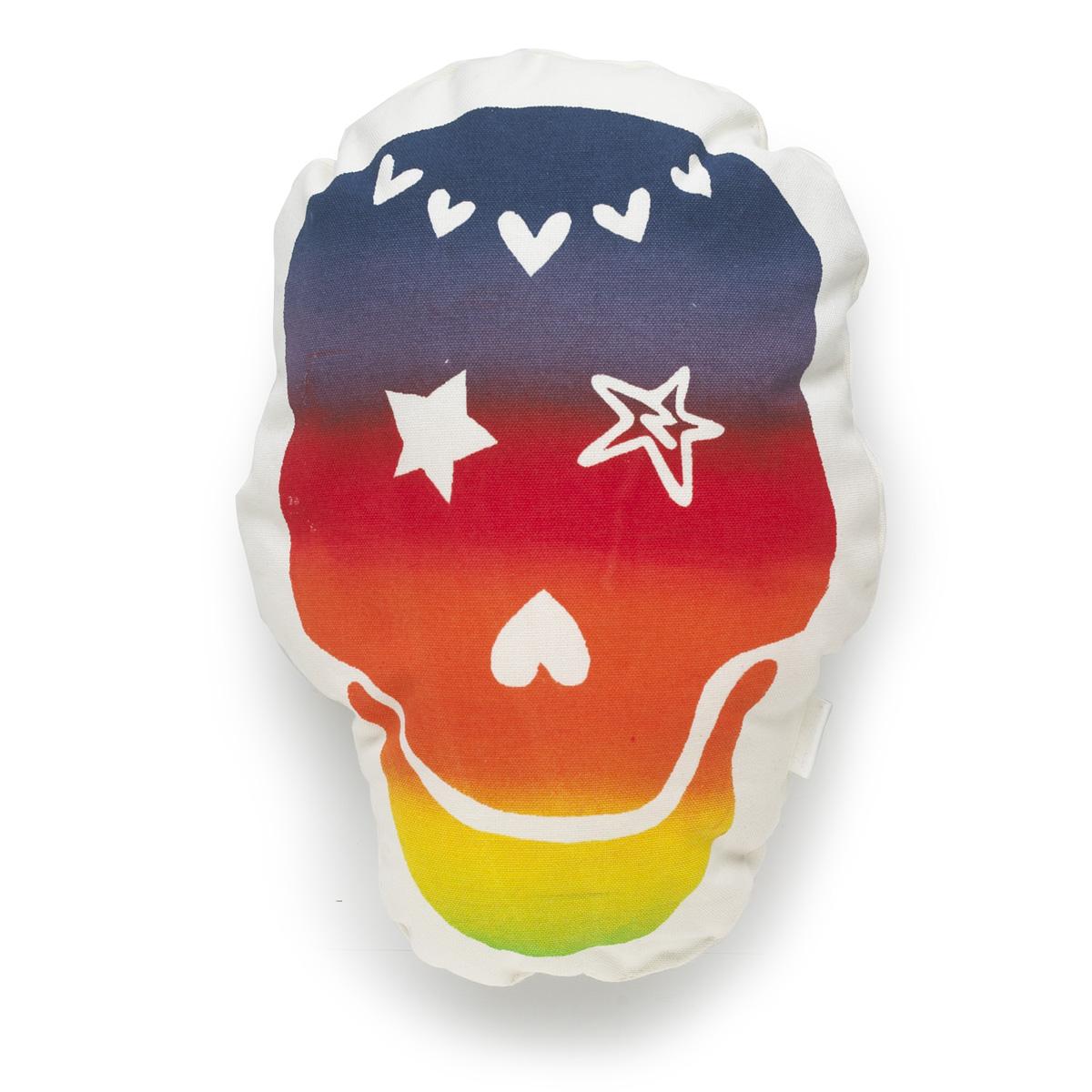 'Rainbow Love Skull' cushion, large and small