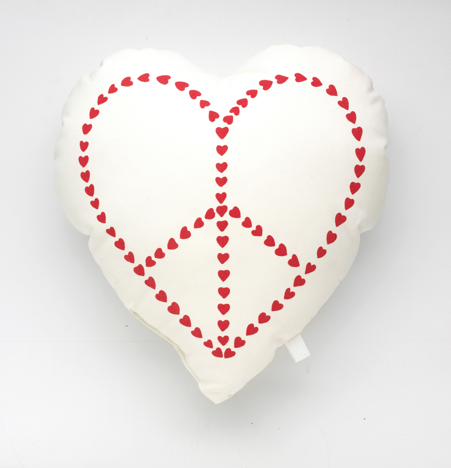 Peace heart cushion, large and small