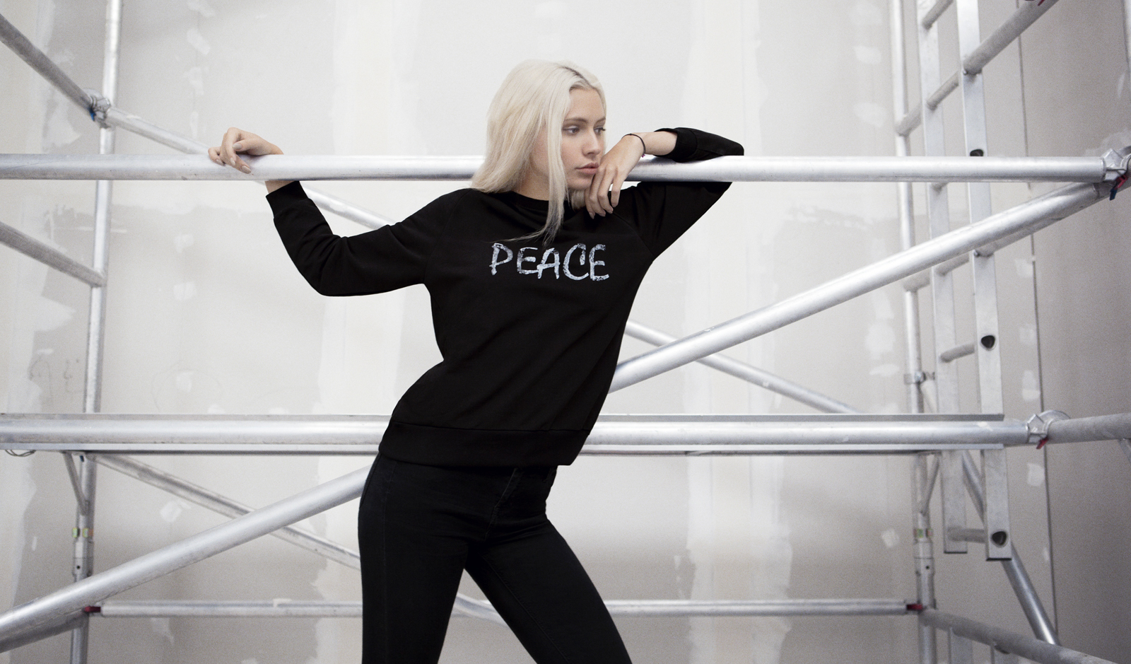 Peace Moon Text Sweat. Photography by Jessica Sargeant. Model Charlie Siddick.