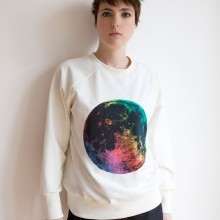 Rainbow Supermoon  Printed Sweat. Photography by Jessica Sargeant. Model, Lauren Jones.