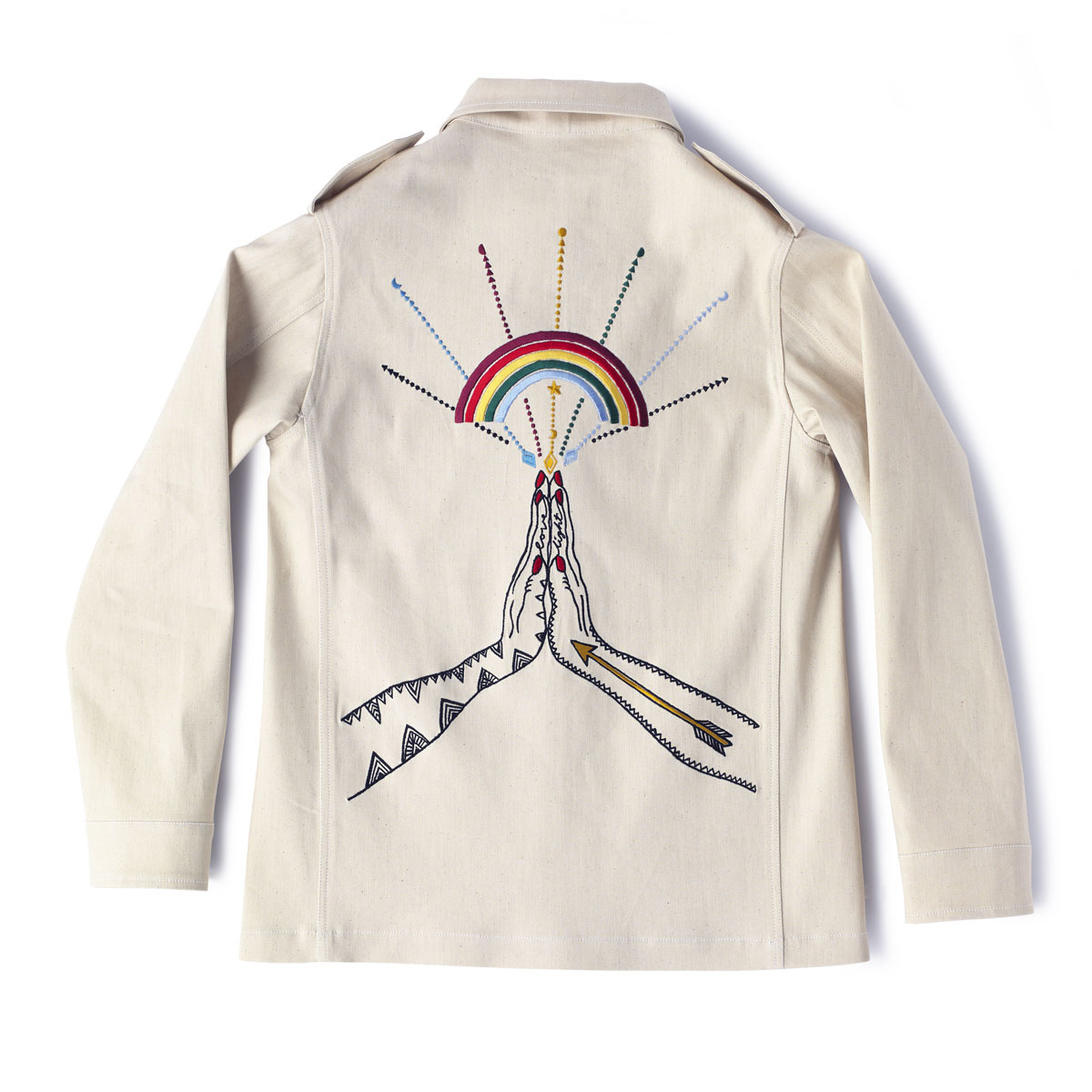DAVINA  Denim Jacket with embroidered CHANGING MOON & PRAYING HANDS.