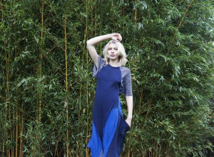 DAISY Silk dress with digital printed CRAZY STAR mixed blue and black